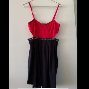 Red and black silence and noise cutout dress